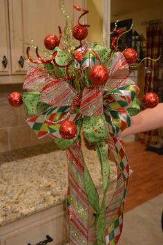 Christmas Ribbon and Glitter Ball Tree Topper by kristenscreations