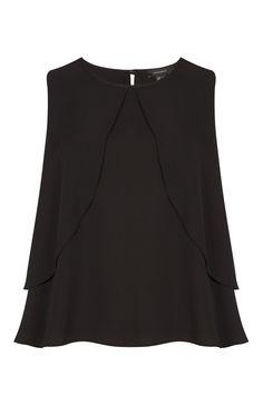 Primark - Top preto com camada dupla de folhos