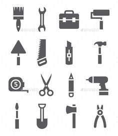 Tools Icons (JPG Image, Vector EPS, CS4, brush, build, construction, drill, equipment, flat, group, hammer, icon, instrument, measure, mobile, paint, repair, roller, saw, scissors, screwdriver, shovel, spanner, tool, toolbox, web, work, wrench)