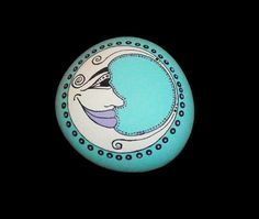Hand Painted Moon Face Rock by PeaceOnTheRocks on Etsy, $13.00