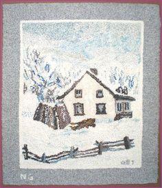Artist Nathalie Guay, a student of Geo. Rug Hooking Designs, Rug Hooking Patterns, Snow Scenes, Winter Scenes, Vintage Hooks, Art Mat, Painting Snow, Hand Hooked Rugs, Penny Rugs