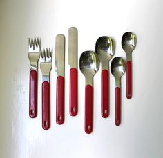 Mod Flatware Red Handles Stainless Mid-Century Modern 1970's by VintageModernAndMore on Etsy