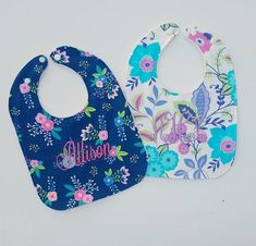 Pink and Navy Baby Girl Floral Bibs