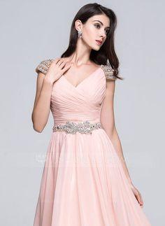 A-formet/Prinsesse V-hals Gulvlengde Chiffong Ballkjole med Frynse Perlebesydd Paljetter (018022748) - JJsHouse