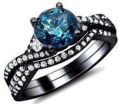 1.36ct Blue Round Diamond Engagement Ring Bridal Set 18k Black Gold