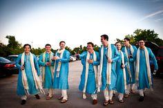 Groomsmen in Blue and White Sherwanis