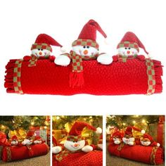 Snowmen weighted fabric doorstop / table Christmas decoration, 22cm