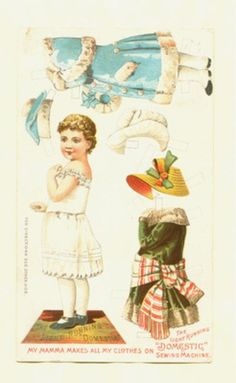 Domestic Sewing Machine uncut advertising paper doll-late 1800's or early 1900's (09/30/2011)