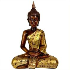 """Oriental Furniture 16"""""""" Thai Sitting Buddha Statue ($69) ❤ liked on Polyvore featuring home, home decor, buddha hand statue, birthday figurines, hand statue, gautama buddha statue and buddha statue"""