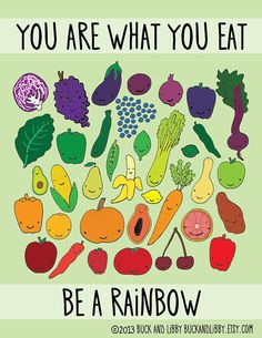"""""""You are what you eat. Be A Rainbow"""" - Illustration Print by Buck and Libby"""