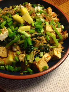 kale  asparagus pineapple fried rice with maple glazed tofu ~vegan, gluten free~