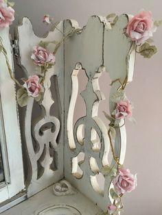 2 X VINTAGE PINK ROSE FLOWER GARLANDS WIRED Shabby Chic Wedding  free P