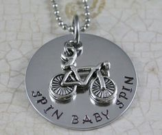 Items similar to Bicycle Necklace Cycling necklace Handstamped Necklace Spin Bike Spin Class Personal Trainer Motivational Necklace Motivational Weight loss on Etsy Recycled Bike Parts, Spin Instructor, Cycling Equipment, Cycling Bikes, Mad Women, Spinning Workout, Road Bike Women, Spin Class, Hand Stamped Necklace