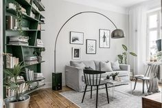 Living room with an original green bookcase