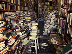 Voltaire and Rousseau / A bookshop in Glasgow, Scotland. Photo taken a few years ago, there is even more mess now -by Fiona Watson Library Bookshelves, Cool Bookshelves, Bookcases, I Love Books, Books To Read, My Books, Music Books, Dream Library, Book Worms