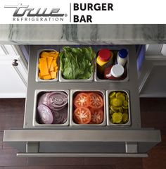 Place your burger garnishes where you need them: next to the grill. TRUE's Drawer Pan Kit allows you to use your TRUE Refrigerator Drawers to organize your burger toppings and store them at the perfect temperature so they're ready to go when you are.