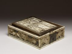Box for Board Games, 1440-1470, German or French; Board games, such as chess, checkers, and backgammon, were increasingly popular in Europe during the later Middle Ages, after it had been brought back by crusading knights from the Near East. Portable chess boxes with scenes of hunting, dancing, and courtship were mass-produced in inexpensive materials to contain the game pieces. The playing board is set into the box's underside.