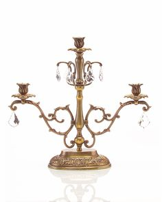"185""H X 20""W X 7""D Brass & Crystal Triple Arm Candelabra"