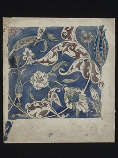 Design, probably for a tile panel.        Object:        Drawing      Place of origin:        England, Great Britain (made)      Date:        1839 - 1917 (made)      Artist/Maker:        De Morgan, William Frend, born 1839 - died 1917 (artist)