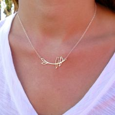 Silver Love Bird Necklace - Silver Necklace - Pendant Necklace