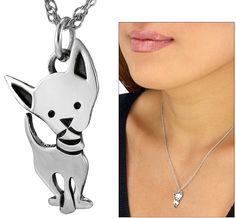 Petite Sterling Chihuahua Necklace, $16 at the Animal Rescue site AND your dollars spent, feed hungry deserving animals in need!