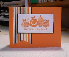 """Card Recipe Stamp Set: Halloween Happiness Cardstock: Pumpkin Pie, Basic Black Whisper White DSPaper """"Witches Brew"""""""
