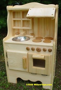Child's Wooden play kitchen, wooden toy kitchen all natural, REAL wood. $235.00, via Etsy.