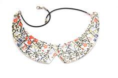 Collar Necklace Ceramic - big bold oversize handmade Peter Pan bib necklace - COTTAGE GARDEN on Etsy, $60.00