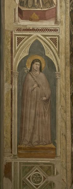 Clare of Assisi holding a lily, fresco byGiotto di Bondone in the Bardi chapel of the Basilica di Santa Croce in Florence, Italy. Clare Of Assisi, Sainte Claire, St Clare's, Late Middle Ages, Renaissance Era, Italian Painters, Religious Icons, Chapelle, Coat Of Arms
