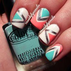 nail polish, color combos, nail designs, summer nails, nail arts, tribal nails, beauti, hair, triangl
