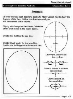 portrait art Step Learning From The Masters Meet the Masters Middle School Art, Art School, Drawing Lessons, Art Lessons, 7 Arts, Facial Proportions, Art Handouts, 4th Grade Art, Art Worksheets