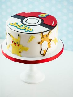 Vanilla cake with White Chocolate Swiss Meringue Buttercream and White Chocolate Ganache. All the decorations are made out of a mix of modeling chocolate and fondant. The characters are Pikachu, Pichu and Raichu Pokemon Torte, Pokemon Cupcakes, Pokemon Birthday Cake, 13 Birthday Cake, Boy Birthday, Birthday Ideas, Bolo Pikachu, Pokemon Party Decorations, Chocolate Swiss Meringue Buttercream