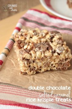 Double Chocolate Salted Caramel Rice Krispie Treats - Yummo!