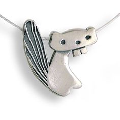 Sterling Silver Oxidized Three Dimensional Long Tail Raccoon Charm Necklace
