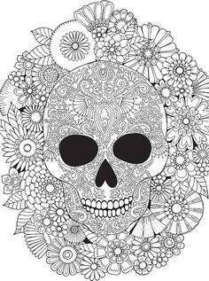 Trademark Fine Art Sugar Skull Wreath Canvas Art by Hello Angel, Size: 24 x Assorted Skull Coloring Pages, Mandala Coloring, Coloring Book Pages, Floral Skull, Outline Drawings, Tips & Tricks, Skull Art, Printable Coloring, Colorful Pictures