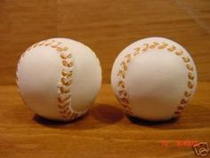 Baseball knobs for Steele's sports room.