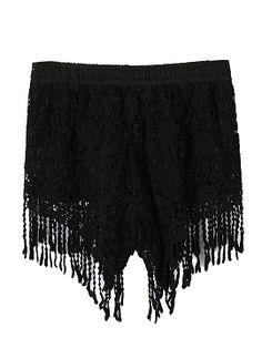 Shop Black Tassel Detail Crochet Lace Shorts from choies.com .Free shipping Worldwide.$19.9