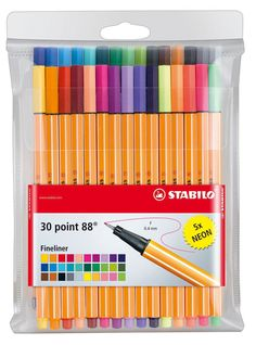 Stabilo 88 fineliner set of 30 Colouring Pens with 5 Neon Colours Stabilo Pen 68, Stabilo Boss, Fine Point Pens, Cute School Supplies, Best Pens, Marker Pen, Pen Sets, Sketchbook Inspiration, School Supplies