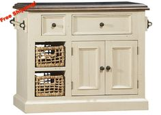 5465 Tuscan Retreat ® Small Granite Top Kitchen Island with 2 (Two) Baskets - Country White Finish