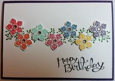 Birthday Card - using all Stampin' Up! products including Stamp Sets, Bordering Blooms, Petite Petals, Sassy Salutations and Age Awareness.