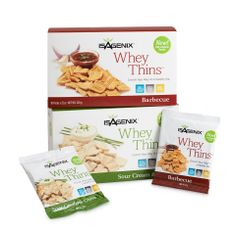 Introducing Whey Thins, the filling, protein-packed crackers that support weight loss. Whey Thins come in delicious Barbecue and delectable Sour Cream and Chive flavors. This savory treat brings in 10 grams of protein with only 100 calories per single-serving pack, so you can conquer hunger and curb cravings.