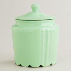 Mint Scalloped Jar