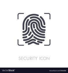Fingerprint icon fingermark symbol vector image on VectorStock App Logo, App Ui, Logo Design Inspiration, Icon Design, Finger Scan, Lock Logo, Scan App, Security Logo, Badge Design