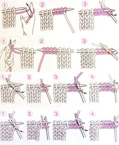 Entrelac diagrams from Japan, home of the most excellent knitting illustrations in the world. Knitting Stitches, Knitting Needles, Free Knitting, Stitch Patterns, Knitting Patterns, Crochet Patterns, Knitting For Beginners, Knitting Projects, Needlework