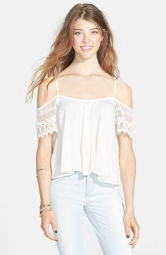 Band of Gypsies Crochet Sleeve Cold Shoulder Tee (Juniors) available at #Nordstrom