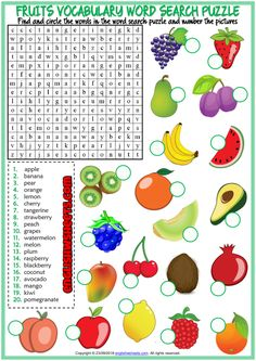 Fruits Word Search Puzzle Esl Printable Worksheet For Kids – Worksheets Samples English Activities For Kids, School Age Activities, Lessons For Kids, Kids English, English Lessons, Learn English, French Lessons, Spanish Lessons, Learn French