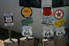 Route 66 signs on display outside the gift store in Seligman, Arizona. October 2006
