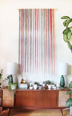 Loft Living ROom makeover by The Sweet Escape. string art inspired by Emily Henderson, loft, living room, color, string art, vintage inspired, mid century modern decor