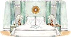 This is a sketch off Leontine Linens website of my dear friend Elizabeth Elsey's bedroom.  Supa Dupa Star