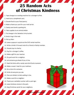 Hang the list of 25 Random Acts of Christmas Kindness on your refrigerator and do one each day until Christmas! You'll be thrilled with how intentionally focusing on kindness each day make the holiday season so much more fun.